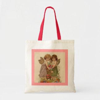 vintage cherub valentine budget tote bag
