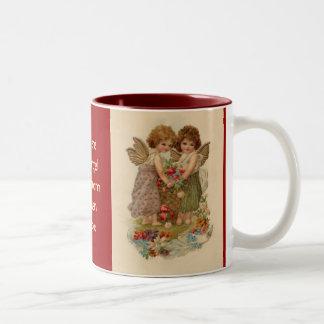 vintage cherub valentine Two-Tone coffee mug
