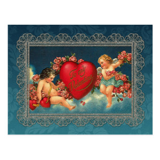 Vintage Cherubs and Valentine Heart Postcard