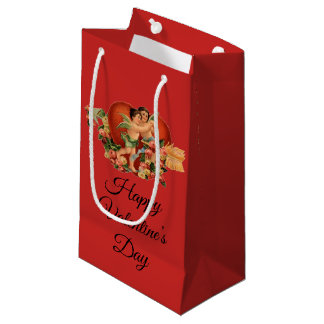 "Vintage Cherubs ""Happy Valentine's Day"" Small Gift Bag"