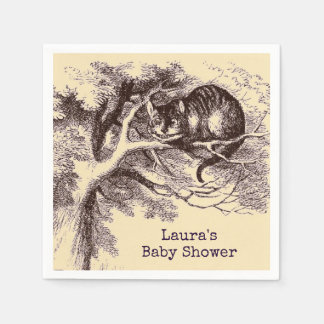 Vintage Cheshire Cat Baby Shower Paper Napkin