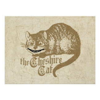 Vintage Cheshire Cat Illustration Poster