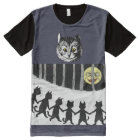 Vintage Cheshire Cat Moon Dancers Art All-Over Print T-Shirt