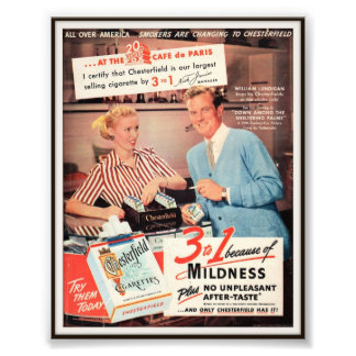 Vintage Chesterfield Cigarette Advertising 1952 Art Photo