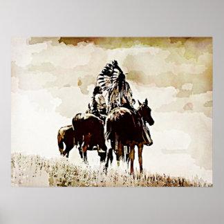 Vintage Cheyenne Warriors on Horseback Poster