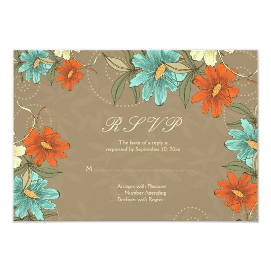 Vintage chic aqua orange cream wedding RSVP card