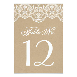 Vintage Chic Brocade Lace Table Number Cards 9 Cm X 13 Cm Invitation Card