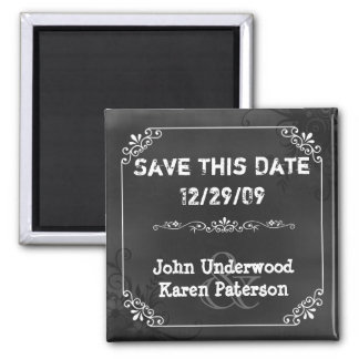 Vintage Chic Chalkboard Look Wedding Save the Date Square Magnet