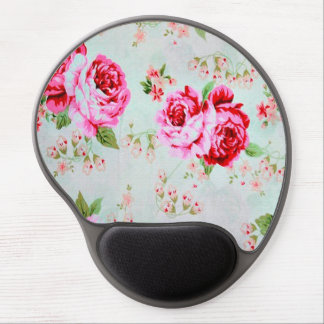 Vintage Chic Cottage Pink Rose Floral Gel Mouse Pad