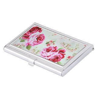 Vintage Chic Cottage Pink Rose Floral Business Card Holder