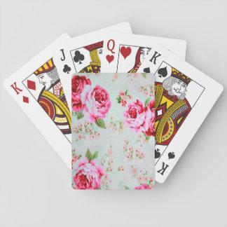 Vintage Chic Cottage Pink Rose Floral Poker Cards
