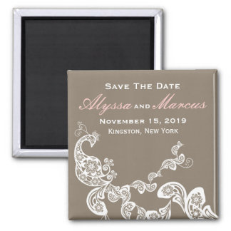 Vintage Chic Elegant Floral Peacock Save The Date Square Magnet