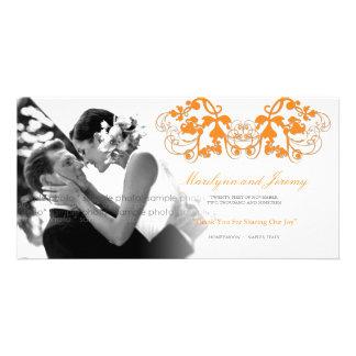 Vintage Chic Floral Flourish Wedding Thank You Customised Photo Card