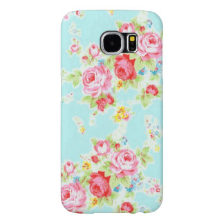 Vintage chic floral roses blue rose flowers shabby samsung galaxy s6 cases