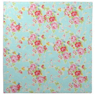 Vintage chic floral roses blue shabby rose flowers cloth napkins