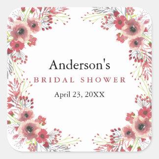 Vintage Chic Floral Wreath Wedding Bridal Shower Square Sticker