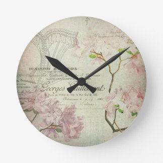 Vintage Chic French Script Shabby Flowers Corset Round Clock