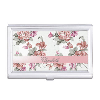 Vintage Chic Girly  Flowers-Personalized Business Card Holder