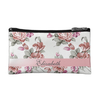 Vintage Chic Girly  Flowers-Personalized Cosmetic Bag