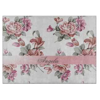 Vintage Chic Girly  Flowers-Personalized Cutting Board