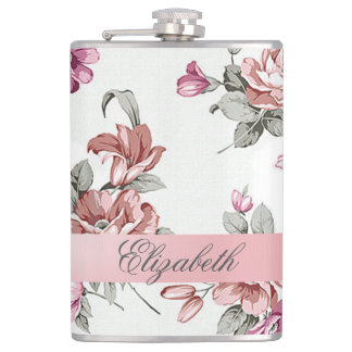 Vintage Chic Girly  Flowers-Personalized Hip Flask