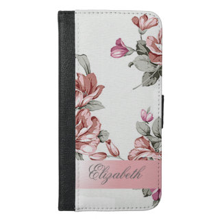 Vintage Chic Girly  Flowers-Personalized iPhone 6/6s Plus Wallet Case