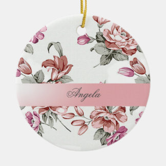 Vintage Chic Girly  Flowers-Personalized Round Ceramic Decoration