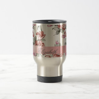 Vintage Chic Girly  Flowers-Personalized Travel Mug