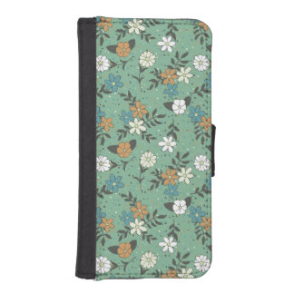 Vintage Chic Green Daisy Floral Pattern iPhone SE/5/5s Wallet Case