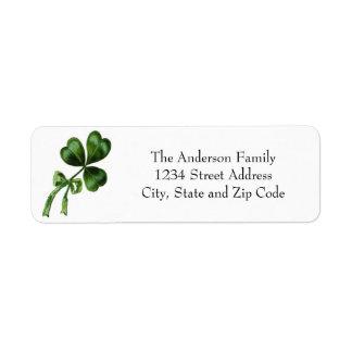 Vintage Chic Green Shamrock Return Address Label