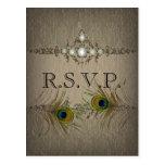 Vintage chic peacock wedding RSVP invitation Post Card
