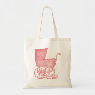 Vintage Chic Pink Baby Carriage Canvas Bag