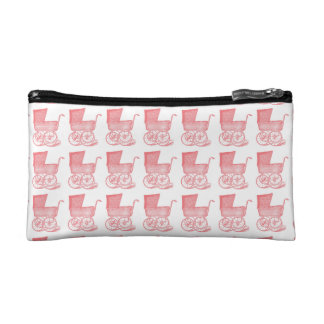 Vintage Chic Pink Baby Carriage Makeup Bags