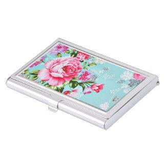 Vintage Chic Pink Floral Business Card Case