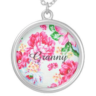 Vintage Chic Pink Floral Granny Necklace