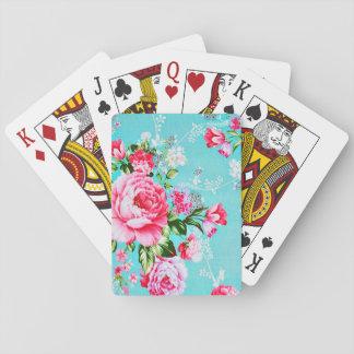 Vintage Chic Pink Floral Poker Deck