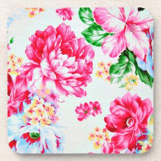 Vintage Chic Pink Flowers Floral Beverage Coasters