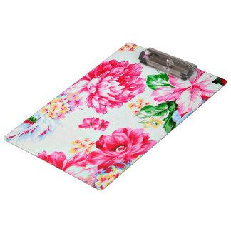 Vintage Chic Pink Flowers Floral Clipboard