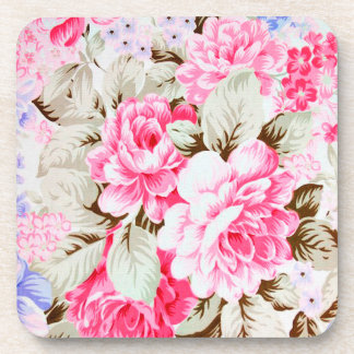 Vintage Chic Pink Flowers Floral Coaster
