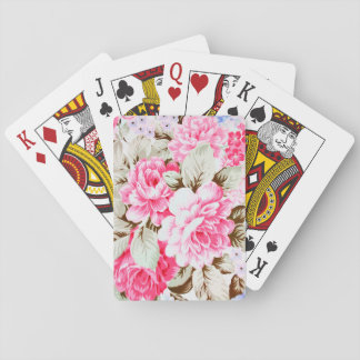 Vintage Chic Pink Flowers Floral Deck Of Cards