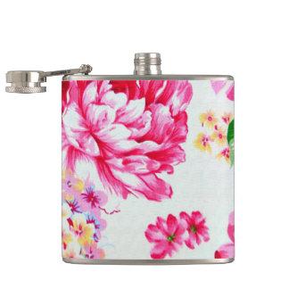 Vintage Chic Pink Flowers Floral Flask