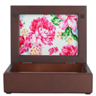 Vintage Chic Pink Flowers Floral Keepsake Box