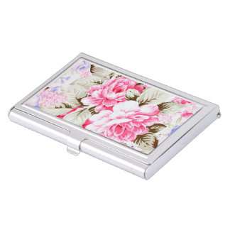 Vintage Chic Pink Flowers Floral Case For Business Cards