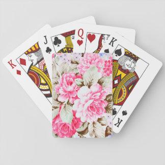 Vintage Chic Pink Flowers Floral Poker Cards