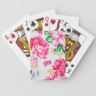 Vintage Chic Pink Flowers Floral Poker Deck