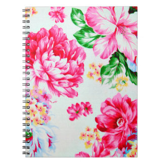 Vintage Chic Pink Flowers Floral Spiral Note Books