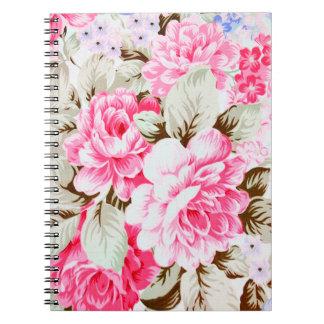 Vintage Chic Pink Flowers Floral Spiral Notebooks