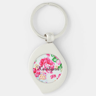 Vintage Chic Pink Flowers  Personalized Keychain