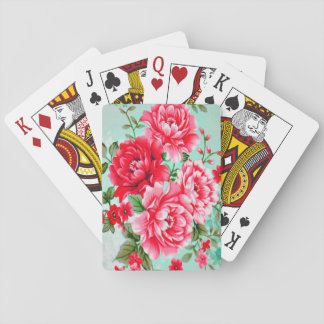 Vintage Chic Red Pink Floral Deck Of Cards