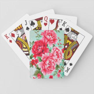 Vintage Chic Red Pink Floral Deck Of Cards
